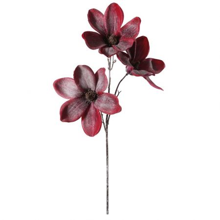 Διακοσμητικό κλαδί με 3 άνθη Μανόλιας Κόκκινα 45cm
