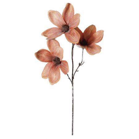 Διακοσμητικό κλαδί με 3 άνθη Μανόλιας Ροδακινί 45cm