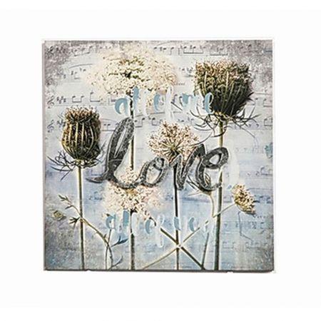 Διακοσμητικός Καμβάς Love & Flowers 30x30cm