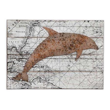 Vintage Χάρτης σε ξύλο με μεταλλικό διακοσμητικό Δελφίνι 39,5x4,5x60cm