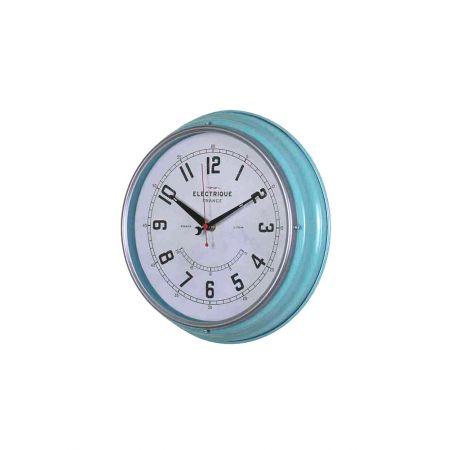 Διακοσμητικό Ρολόι Τοίχου Γαλάζιο 31cm