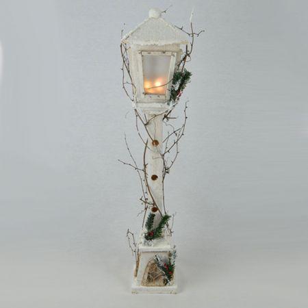 Διακοσμητικό Χριστουγεννιάτικο φανάρι φωτιζόμενο, λευκό 100cm