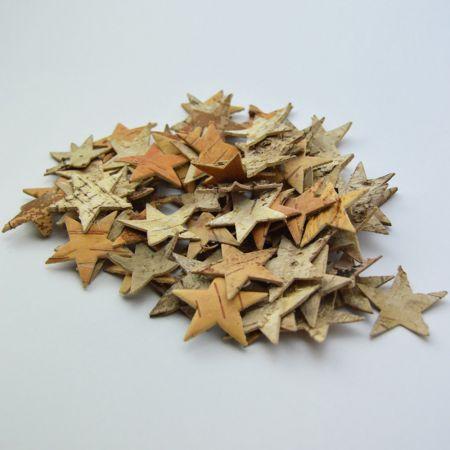 Σετ 80τχ Χριστουγεννιάτικα στολίδια δέντρου, ξύλινα αστεράκια 4cm