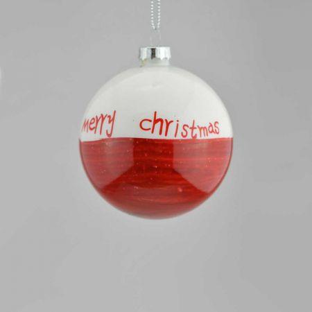Χριστουγεννιάτικη μπάλα γυάλινη Kόκκινη-Λευκή 8cm
