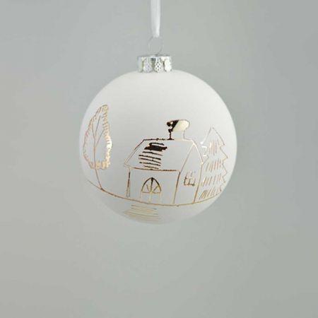 Χριστουγεννιάτικη μπάλα γυάλινη με σκίτσο σπιτάκι Λευκή 8cm