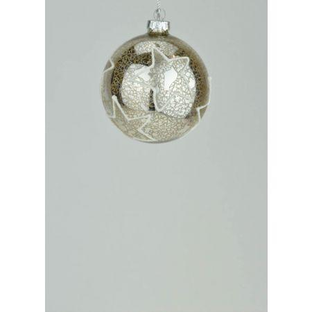 Χριστουγεννιάτικη μπάλα γυάλινη με αστέρια Σαμπανί 8cm