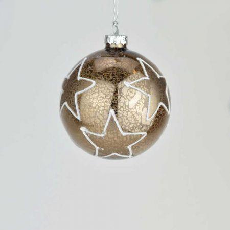 Χριστουγεννιάτικη μπάλα γυάλινη με αστέρια Χάλκινη 8cm