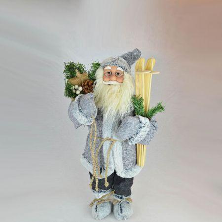 Χριστουγεννιάτικος Άγιος Βασίλης, λούτρινος Γκρι 45cm