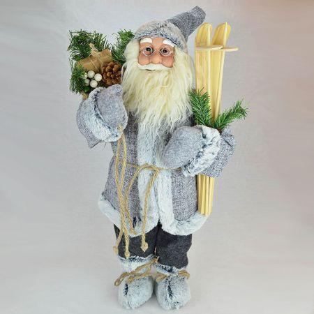 Χριστουγεννιάτικος Άγιος Βασίλης, λούτρινος Γκρι 80cm