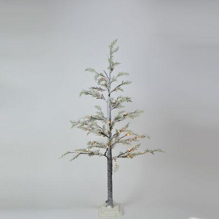 Φωτιζόμενο δέντρο Χριστουγέννων χιονισμένο με LED μπαταρίας 130cm