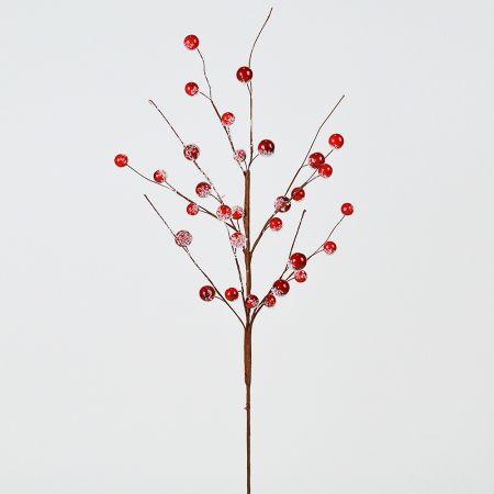 Χριστουγεννιάτικο κλαδί Berries - Γκι Κόκκινο  χιονισμένο 60x10cm