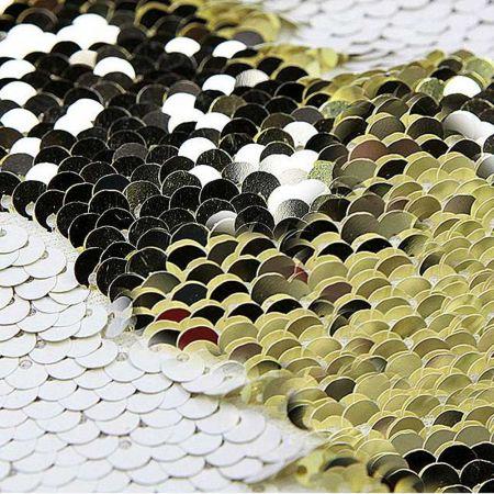 Διακοσμητικό ύφασμα με δίχρωμες παγιέτες Χρυσό - Λευκό 145cm