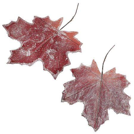 Σετ 2τχ XL διακοσμητικά φύλλα Κόκκινα χιονισμένα 30x40cm