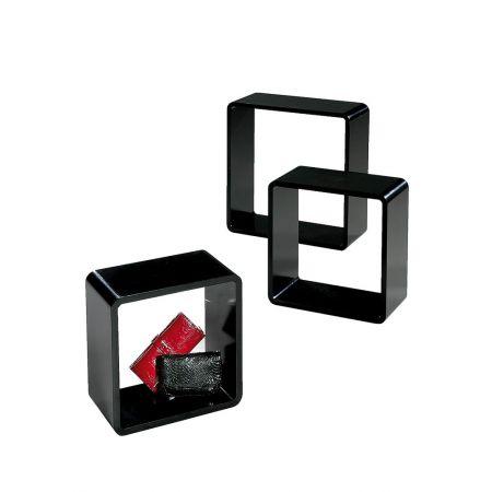 Σετ 3τμχ. Διακοσμητικοί Κύβοι Ξύλινοι Μαύρο 35/42/50cm