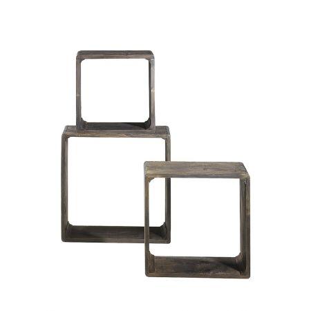 Σετ 3τχ Διακοσμητικοί Κύβοι Ξύλινοι Καφέ 35/42/50cm