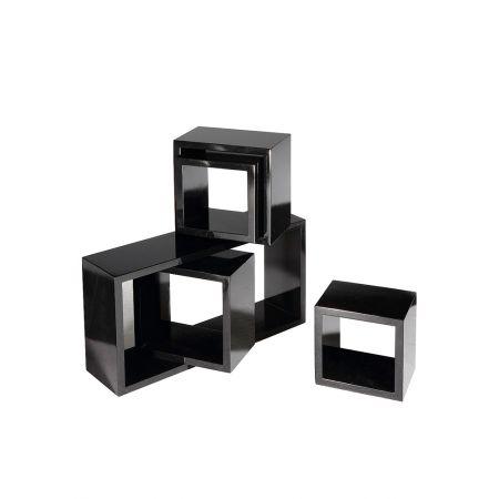 Σετ 5τμχ. Διακοσμητικοί Κύβοι Ξύλινοι Μαύρο 56x30x15cm