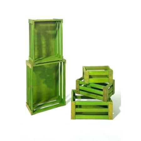 Σετ 5τμχ. Διακοσμητικά Καφάσια Ξύλινα Πράσινα 37x28.5x15.5cm