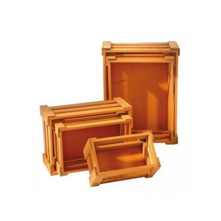 Σετ 5τμχ. Διακοσμητικά Καφάσια Ξύλινα Πορτοκαλί 37x28.5x15.5cm