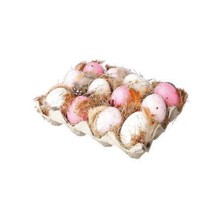 Σετ 12τχ πασχαλινά αυγά Ροζ - Λευκά μέσα σε αυγοθήκη 19x14cm