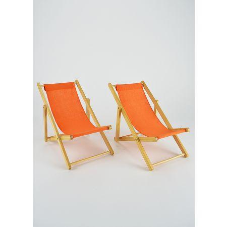 Σετ 2τχ Διακοσμητικές καρέκλες παραλίας για βιτρίνα Πορτοκαλί 22cm