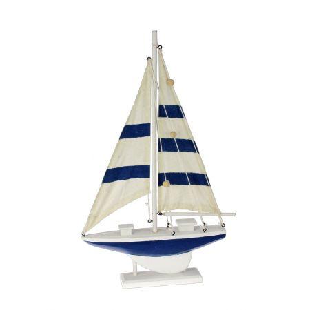 Διακοσμητικό καράβι Λευκό - Μπλε 46cm