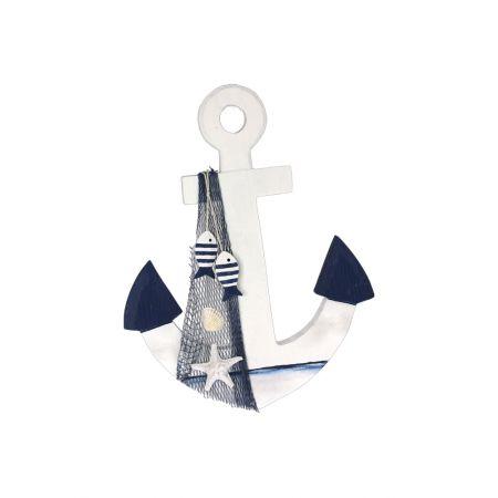 Διακοσμητική άγκυρα Λευκή - Μπλε 25cm