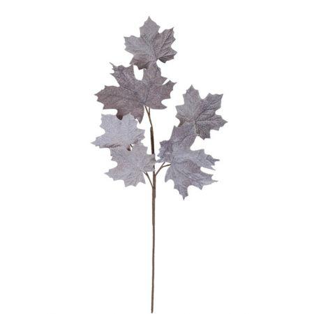 Διακοσμητικό κλαδί με βελούδινα φύλλα σφένδαμου Γκρι 90cm