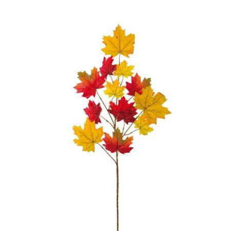 Τεχνητό κλαδί με φύλλα σφενδάμου Κόκκινο - Πορτοκαλί 86cm