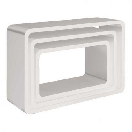 Σετ 3τμχ. Διακοσμητικοί Κύβοι Ξύλινοι Λευκό 58/51/44cm