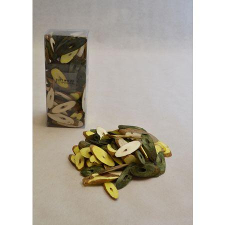Σετ 15gr Διακοσμητικά ξυλάκια - ροδέλες Κίτρινες 3-6cm