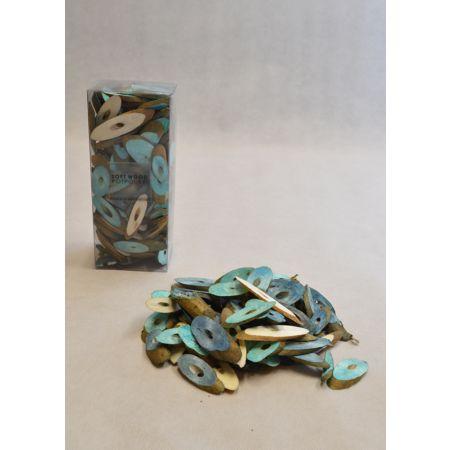 Σετ 15gr Διακοσμητικά ξυλάκια - ροδέλες Τυρκουάζ 3-6cm
