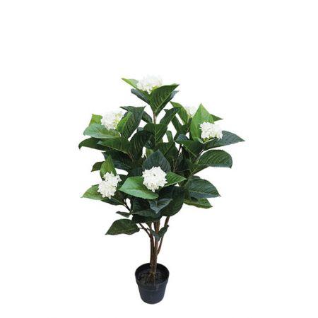 Τεχνητό φυτό Ορτανσία με Λευκά άνθη σε γλάστρα 107cm