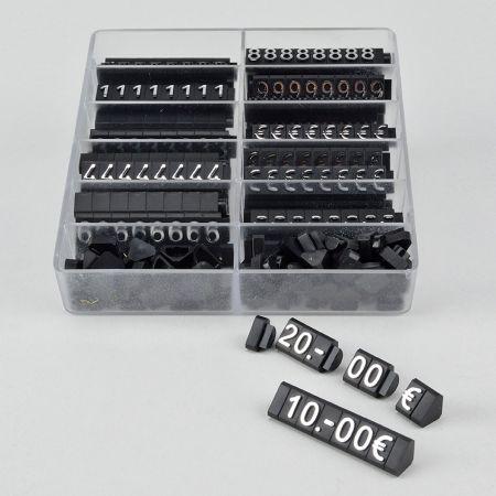 Σετ 400τχ κασετίνα με Τιμές βιτρίνας με ανάγλυφα γράμματα 1cm Μαύρο - Ασημί γράμματα