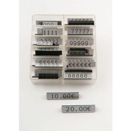 Σετ 252τχ (36 μπάρες) τιμές βιτρίνας 1cm Ασημί - Μαύρα γράμματα