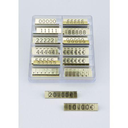Σετ 252τχ (36 μπάρες) τιμές βιτρίνας 1cm Χρυσό - Μαύρα γράμματα