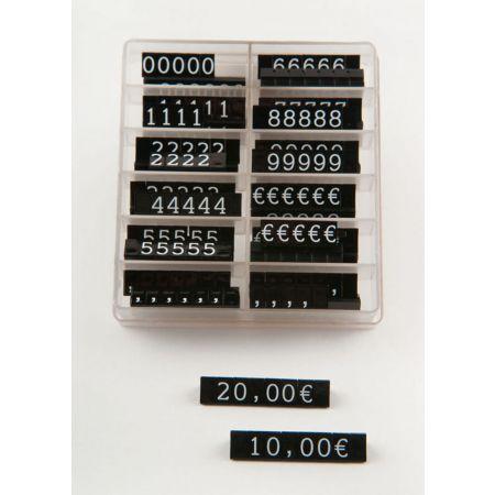 Σετ 252τχ (36 μπάρες) τιμές βιτρίνας 1cm Μαύρο - Λευκά γράμματα