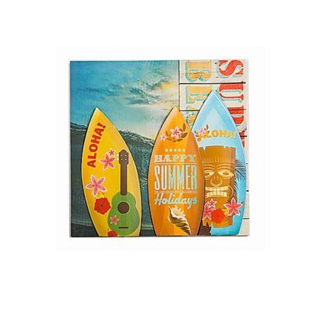 Διακοσμητικός Καμβάς με Σανίδες Surf 50x50cm