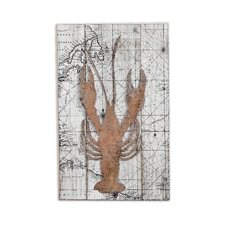 Χάρτης σε ξύλο με μεταλλικό διακοσμητικό Αστακό, 39,5x4,5x60cm