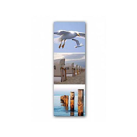 Διακοσμητική καλοκαιρινή αφίσα με Παραλία-Γλάρους, 60x180cm