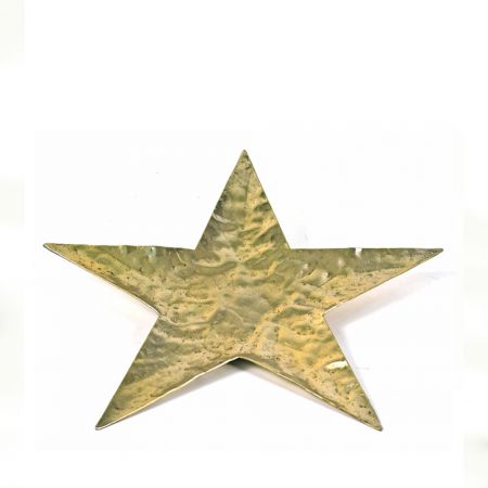 Δίσκος - βάση αλουμινίου αστέρι, σφυρήλατη Χρυσή 35cm