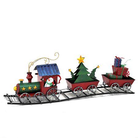 Διακοσμητικό Χριστουγεννιάτικο τρενάκι μεταλλικό 82,6x17,1x29,2cm