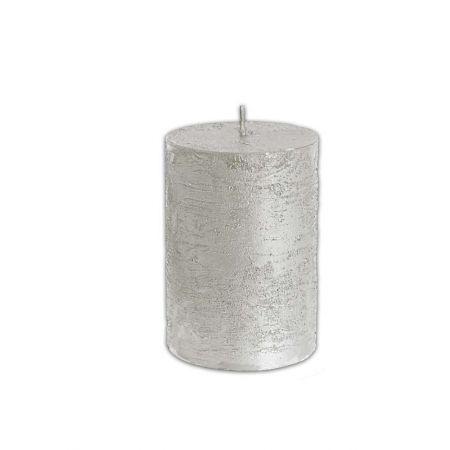 Διακοσμητικό κερί - κορμός Ασημί 7x10cm