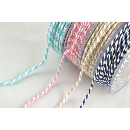 Διακοσμητικό κορδόνι ΔΙΧΡΩΜΟ Λευκό-Ροζ 3mmx25m