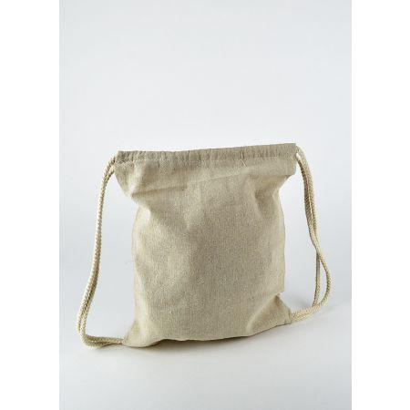 Τσάντα - σακίδιο πλάτης βαμβακερό με χερούλια από σχοινί Μπεζ 25x30m