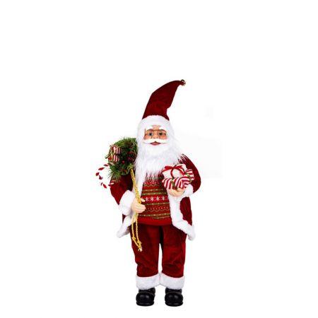 Διακοσμητικός Αγιος Βασίλης με πουλόβερ, κόκκινος 45cm