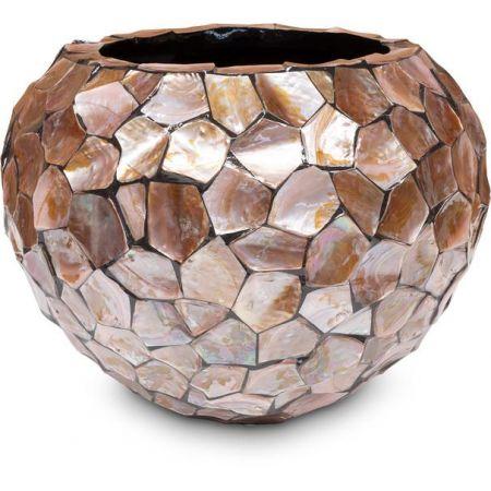 Γλάστρα-Βάζο SHELL με κοχύλια Καφέ 40x52x37cm