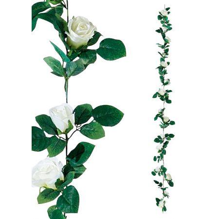 Διακοσμητική γιρλάντα με λευκά τριαντάφυλλα, 180cm