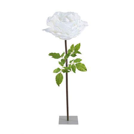 XXL Διακοσμητικό Λευκό τριαντάφυλλο με μίσχο 165cm