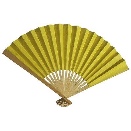 Διακοσμητική κινέζικη Βεντάλια χάρτινη κίτρινη, 40x25cm