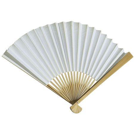 Διακοσμητική κινέζικη Βεντάλια χάρτινη λευκό, 40x25cm